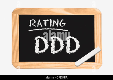"""Detail photo of a chalkboard with the inscription """"Rating DDD"""", white chalk lies in a corner, background white. - Stock Photo"""
