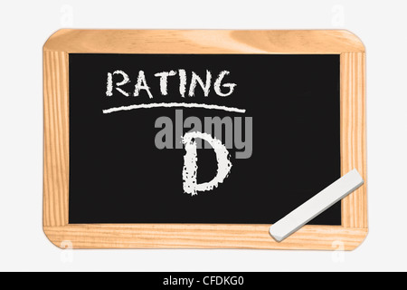 """Detail photo of a chalkboard with the inscription """"Rating D"""", white chalk lies in a corner, background white. - Stock Photo"""