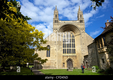 West front of Tewkesbury Abbey (Abbey of the Blessed Virgin), Tewkesbury, Gloucestershire, England, UK - Stock Photo