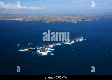 Aerial photo of Longships Lighthouse and Lands End Peninsula, West Penwith, Cornwall, England, United Kingdom, Europe - Stock Photo