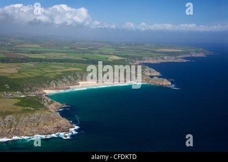 Aerial photo of Lands End Peninsula, Treen Cliff, Logan Rock, West Penwith, Cornwall, England, UK - Stock Photo