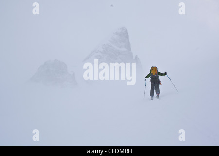 A man ski touring in near whiteout conditions. Wapta Icefields, Banff National Park, Alberta, Canada - Stock Photo