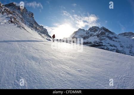 A man ski tours along the French/Haig Robertson Traverse, Peter Lougheed Provinicial Park, Kananaskis, Alberta, - Stock Photo