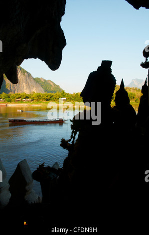 Rows of Buddha statues, Pak Ou Cave, Province of Luang Prabang, Laos, Indochina, Southeast Asia, Asia - Stock Photo
