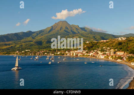 St. Pierre and the Mount Pelee, 1397m, Martinique, French Overseas Department, Windward Islands, West Indies, Caribbean - Stock Photo