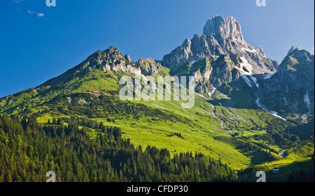 Mountains in the sunlight, Hofalm, Bischofsmuetze, Salzkammergut, Salzburg, Austria, Europe - Stock Photo
