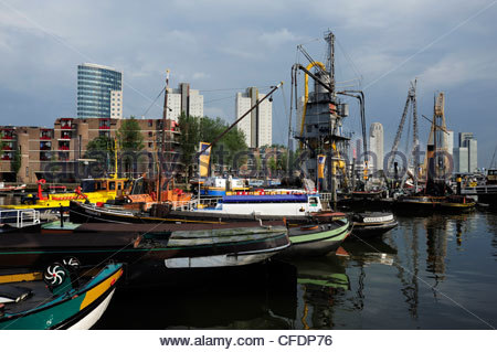Traditional ships in Leuvehaven, this harbour is part of the Maritiem Museum, Rotterdam City Centre, South Holland, - Stock Photo
