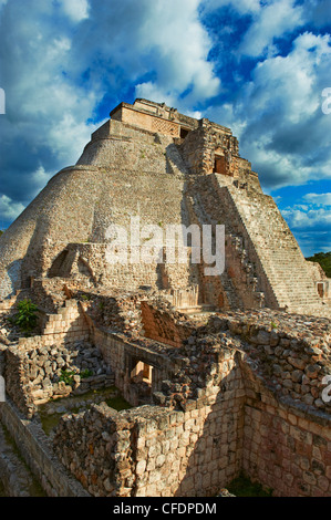 Pyramid of the Magician, Mayan archaeological site, Uxmal, UNESCO World Heritage Site, Yucatan State, Mexico, - Stock Photo