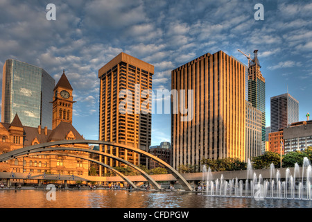 Evening, Old City Hall and City Hall Pool, Downtown Toronto, Ontario, Canada - Stock Photo