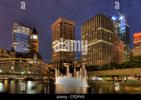 Night, Old City Hall and City Hall Pool, Downtown Toronto, Ontario, Canada - Stock Photo