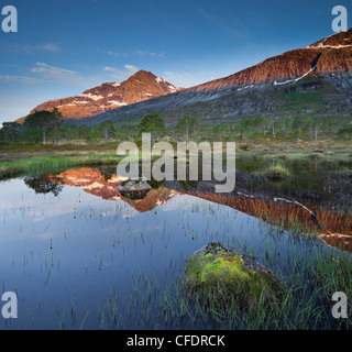 Mountain reflection in lake Sandholmvatnet, Kobbenestinden mountain in the background, near Skjellneset, Forsahavet, - Stock Photo
