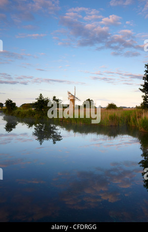A summer morning in the Norfolk Broads showing Turf Fen Mill and the River Ant at How Hill, Norfolk, England, United - Stock Photo