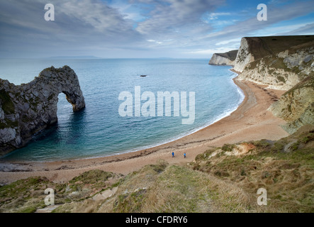 A view of Durdle Door, Swyre Head and Bat's Head with the Island of Portland on the horizon, Jurassic Coast, Dorset, England, UK
