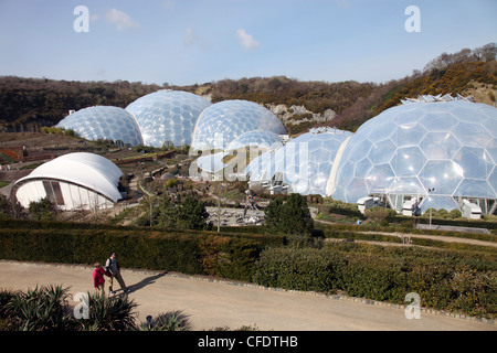 View from top road of Biomes at Eden Project, St. Austell, Cornwall, England, United Kingdom, Europe - Stock Photo
