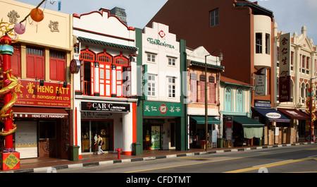 Shophouses in South Bridge Road, Chinatown, Singapore, Southeast Asia, Asia - Stock Photo