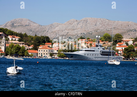 Luxury Yacht moored by the seafront at the town of Cavtat near Dubrovnik Dalmatia Croatia - Stock Photo