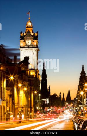 View along Waterloo Place at night, Edinburgh, Lothian, Scotland, UK - Stock Photo