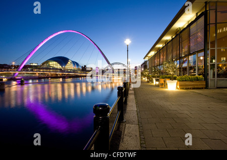 Newcastle Quayside, Gateshead Millennium Bridge and the Arched Bridge, Newcastle-upon-Tyne, Tyne and Wear, England, - Stock Photo