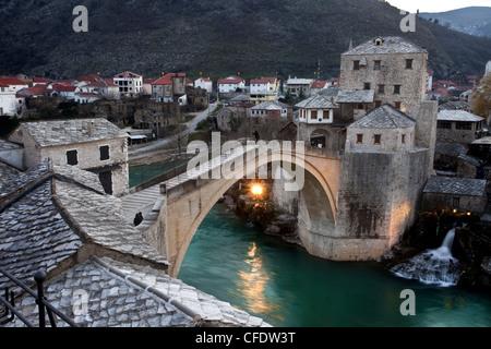 Stari Most Bridge, Mostar, UNESCO World Heritage Site, Bosnia, Bosnia Herzegovina, Europe - Stock Photo