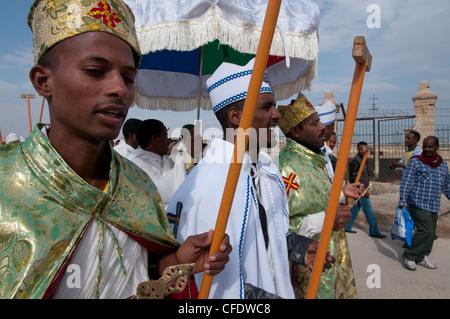 Epiphany, Ethiopian celebrations at the baptismal site of Qasr el Yahud, Jordan River, Israel, Middle East - Stock Photo