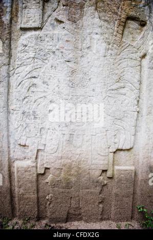 Stone carving, Tikal Maya ruins, UNESCO World Heritage Site, Guatemala, Central America - Stock Photo