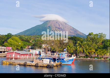 Harbour below Volcan Concepcion, 1610m, Ometepe Island, Lake Nicaragua, Nicaragua, Central America - Stock Photo