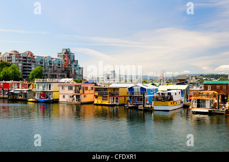 Some of the many float homes along Fisherman's Wharf in Victoria, British Columbia, Canada - Stock Photo