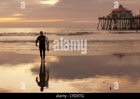 Surfer, Huntington Beach, California, United States of America, - Stock Photo
