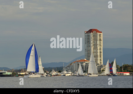 Yacht race in Nanaimo Harbour, Vancouver Island, British Columbia, Canada - Stock Photo