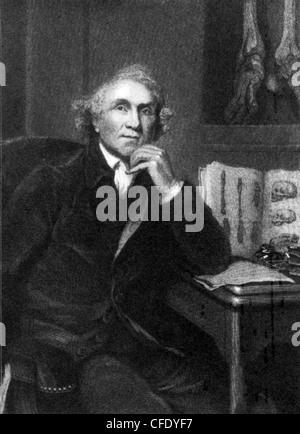 JOHN HUNTER (1728-1793) Scottish surgeon with skeleton of he Irish giant Charles Byrne on the wall - Stock Photo