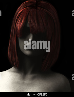 Fine Art style digital illustration textured and grainy of beautiful woman in deep shadow with red hair.