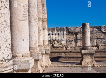 Ruins of the synagogue of Capernaum , Israel - Stock Photo