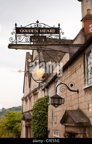 UK, Gloucestershire, Stroud, Painswick, Tibbiwell, Golden Heart House, historic sign of former Inn now private house - Stock Photo