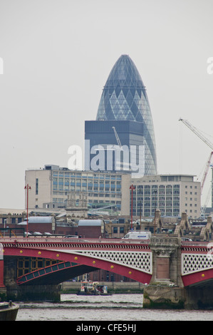 Blackfriars Bridge,Various Views,Gherkin Building,City of London behind the Bridge,London,Thames River,United Kingdom - Stock Photo