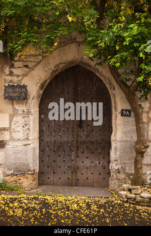 UK, Gloucestershire, Stroud, Painswick, Bisley Street, medieval arched entrance to The Chur, historic C16th house - Stock Photo