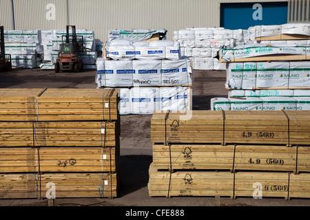 Imported Tanalised Roofing Battens @ Goole Docks , Quayside & Harbour , Humberside , UK - Stock Photo