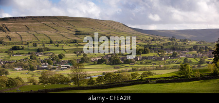 UK, England, Yorkshire, Wensleydale, Hawes and Gayle, panoramic - Stock Photo