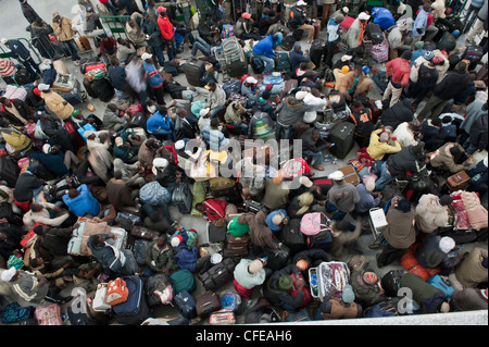Djerba Airport. Tunisia.  Around 15000  refugees evacuated from Libya waiting for planes to take them home. 2011 - Stock Photo