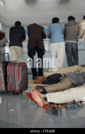 Djerba Airport. Tunisia.  Around 15000  refugees evacuated from Libya waiting for planes to take them back home, - Stock Photo