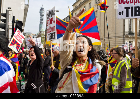 London,UK,10th March 2012. Protesters gathered at Downing street. - Stock Photo