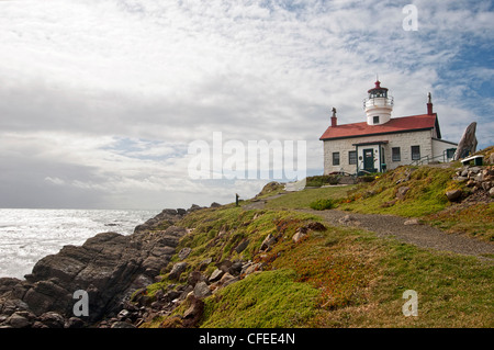 Dramatic view of the Battery Point Lighthouse in Crescent City, California. - Stock Photo