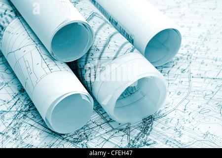 architecture blue plans - Stock Photo