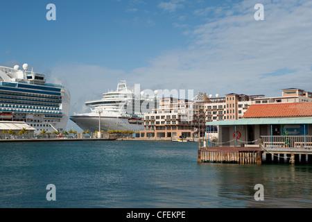 The Renaissance Marina and cruise ships docked at the terminal, Oranjestad, Aruba, The Caribbean - Stock Photo