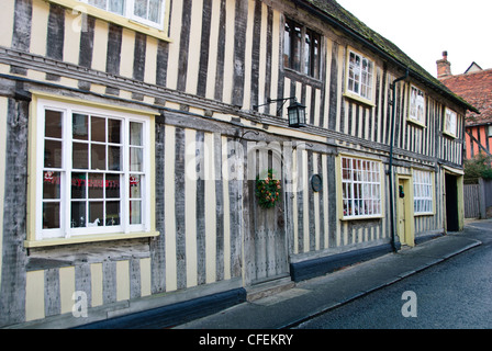 Half-timbered Medieval Cottages, Known as Black & White Houses, Lavenham Suffolk,Gt Britain,UK - Stock Photo