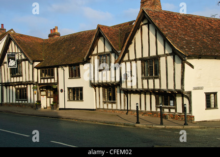Swan Hotel,Famous,Half-timbered Medieval Cottages, Known as Black & White Houses, Lavenham Suffolk,Gt Britain,UK - Stock Photo