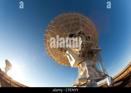 The radio telescope dishes of the Very Large Array in New Mexico, USA - Stock Photo