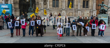 Paris, France, Anti Nuclear Power Activists Demonstrating on Anniversary of Fukushima Disaster, French People, Children, - Stock Photo