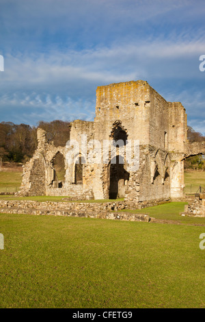 The ruins of Easby Abbey founded 1155 as a Premonstratensian Abbey on the banks of The River Swale near Richmond - Stock Photo