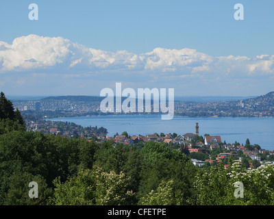 View from Oberrieden to Zurich and the Lake of Zurich - Stock Photo