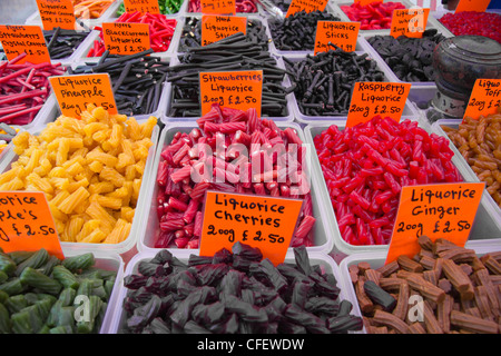 Sweets stall, Monday Market in Town Centre, Skipton, Yorkshire Dales National Park, North Yorkshire, England, UK - Stock Photo